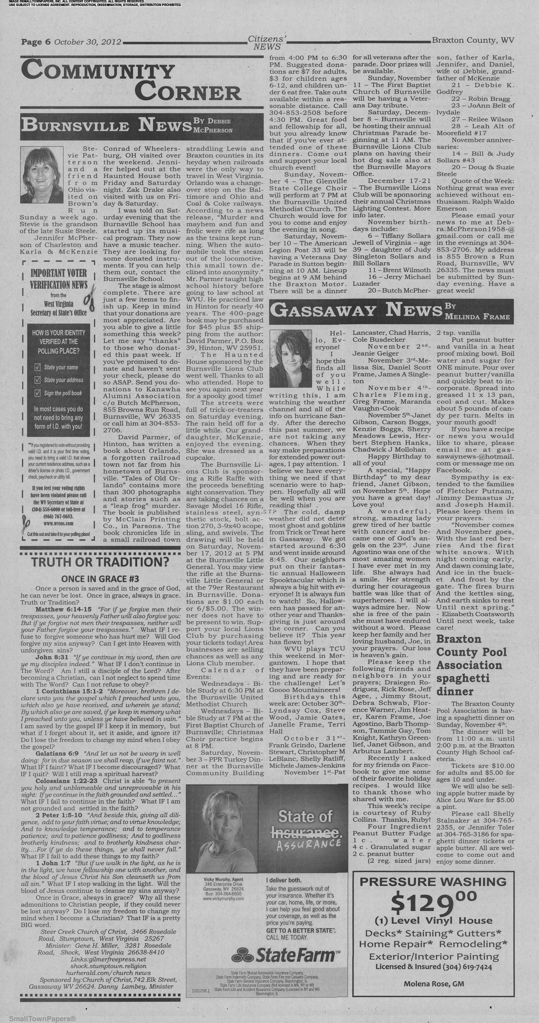 Gassaway Wv Christmas Parade 2020 Braxton Citizens News October 30, 2012: Page 6